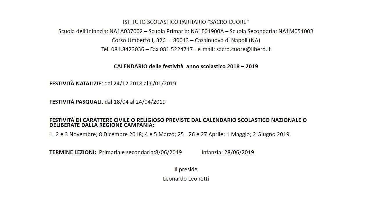 Csa Napoli Calendario Scolastico Regionale.Istituto Sacro Cuore Casalnuovo Di Napoli